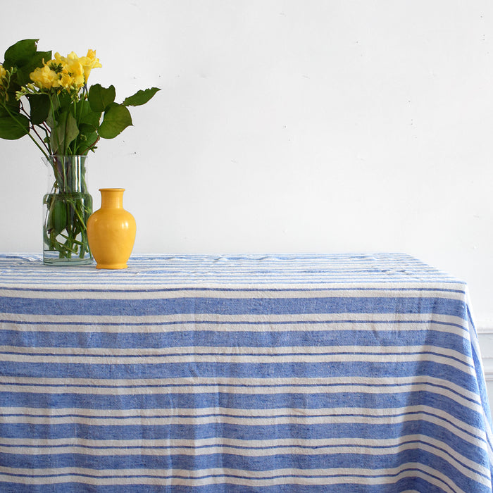 Linge Particulier French linen tablecloth in large blue and white stripes for colorful dining and patterned tablecloths - Collyer's Mansion