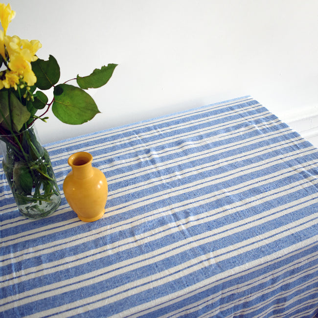 Linen Tablecloth, large blue stripe, Tablecloth, Linge Particulier, Collyer's Mansion - Collyer's Mansion