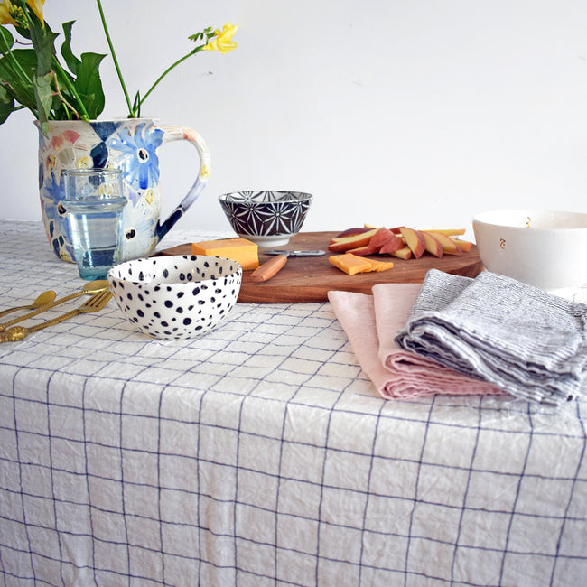 Linen Tablecloth, navy check, Tablecloth, Linge Particulier, Collyer's Mansion - Collyer's Mansion