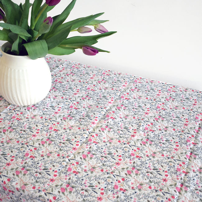 Linen Tablecloth, rose flower, Tablecloth, Linge Particulier, Collyer's Mansion - Collyer's Mansion