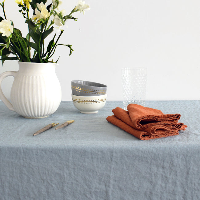 Linen Tablecloth, scandinavian blue