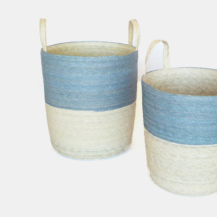 Tall handle woven floor basket with blue upper and natural bottom perfect for a colorful new home decor and basket organization - Collyer's Mansion