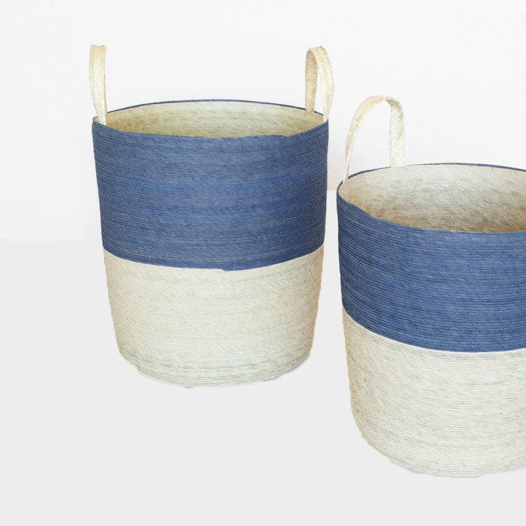 Tall handle woven floor basket with navy upper and natural bottom perfect for a colorful new home decor and basket organization - Collyer's Mansion