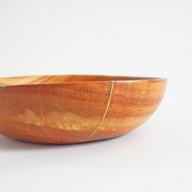 Brass Inlay Teak Bowl, medium, Bowl, Roost, Collyer's Mansion - Collyer's Mansion
