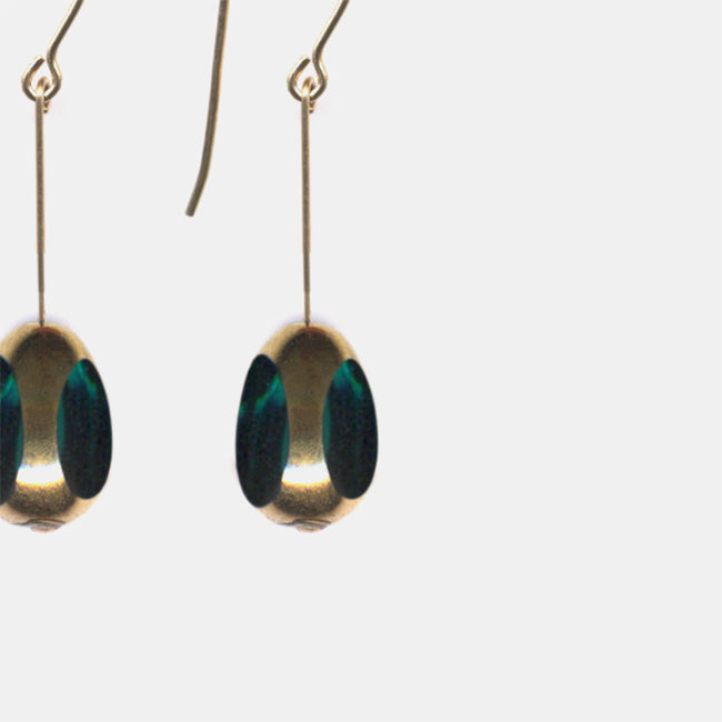 Teal Translucent Bean Drop Earrings
