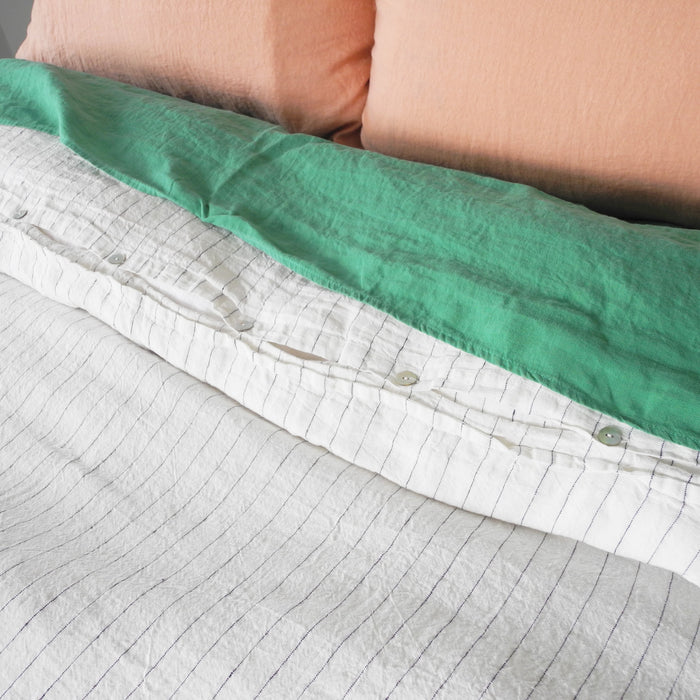 Linen Duvet, tennis stripe, Duvet, Linge Particulier, Collyer's Mansion - Collyer's Mansion