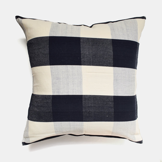 Black and Blue Big Check Pillow, square