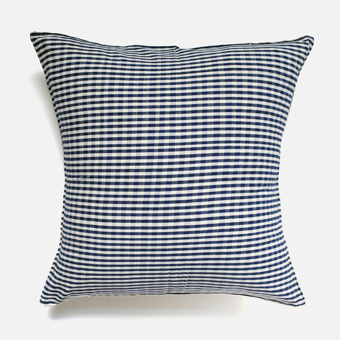 Navy Blue Gingham Pillow, square