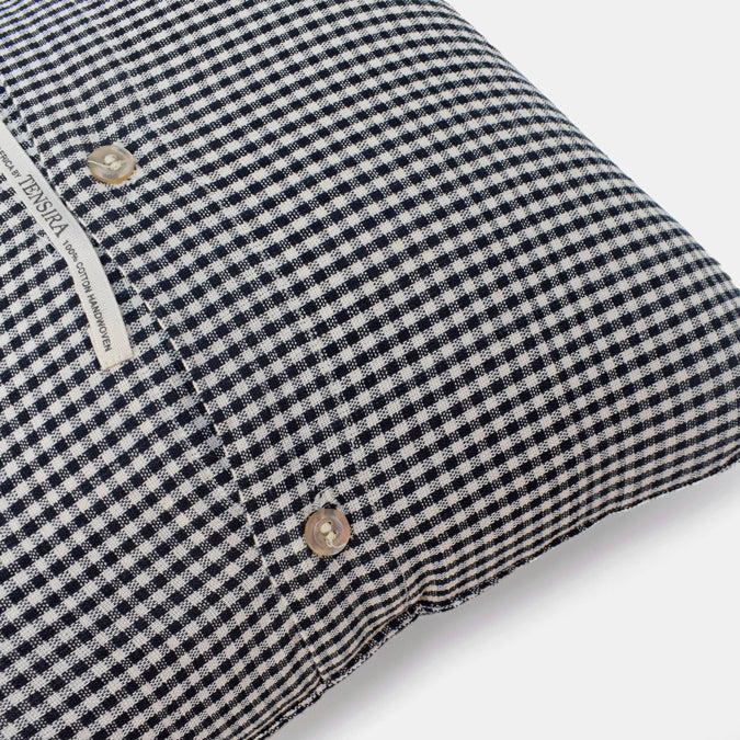Tensira Black Check Pillow in Cotton at Collyer's Mansion