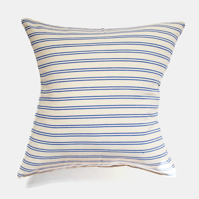 Blue Double Stripe Pillow, square