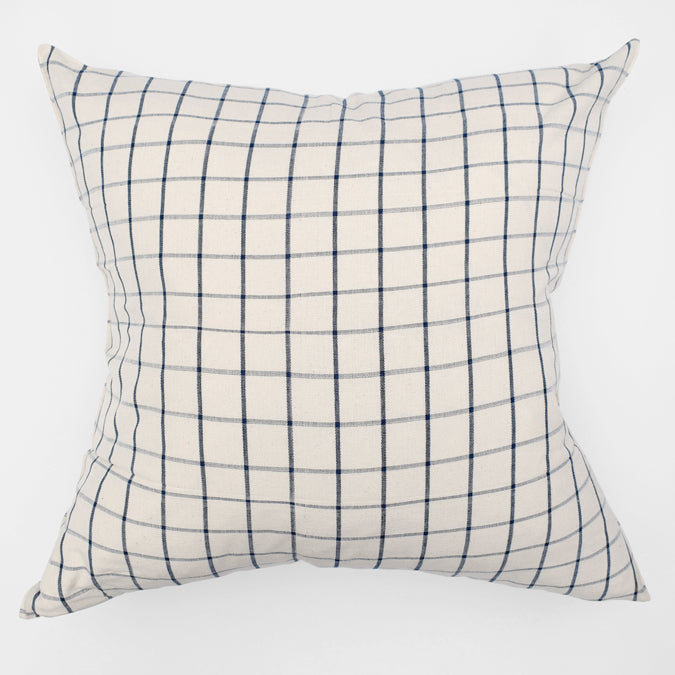 Blue Windowpane Pillow, square