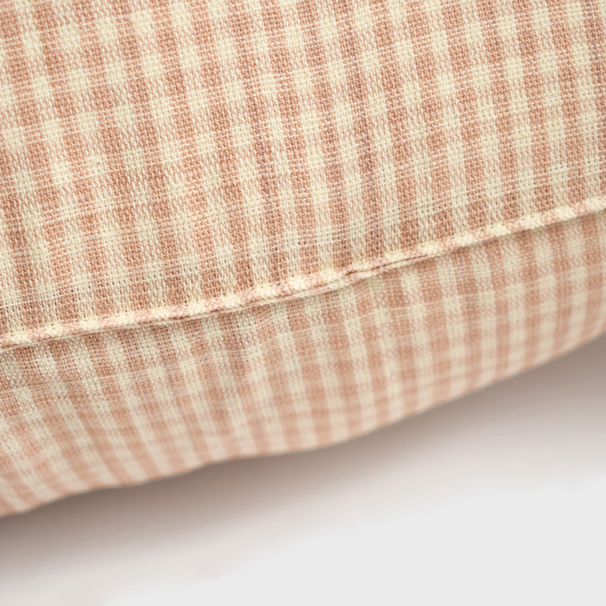 Peach Gingham Pillow, square
