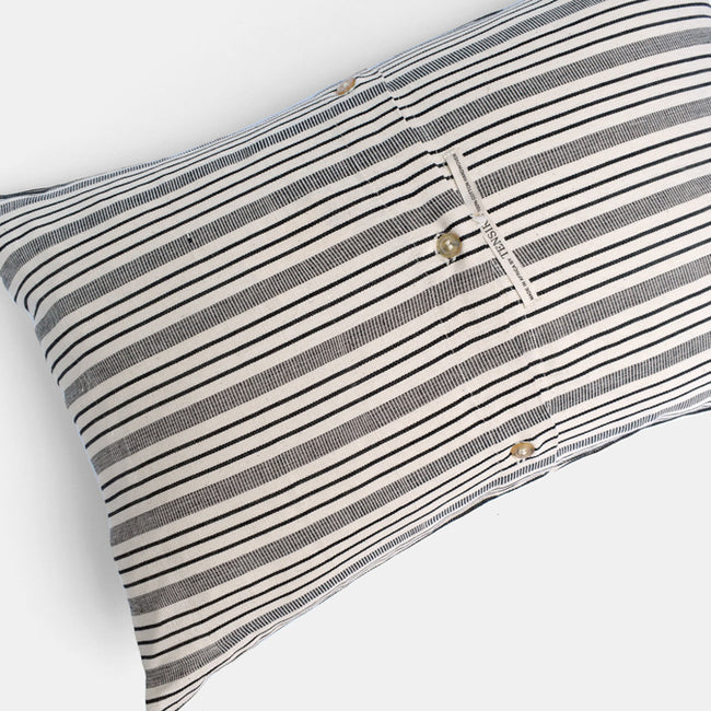 Tensira Black Stripe Lumbar Throw Pillow at Collyer's Mansion