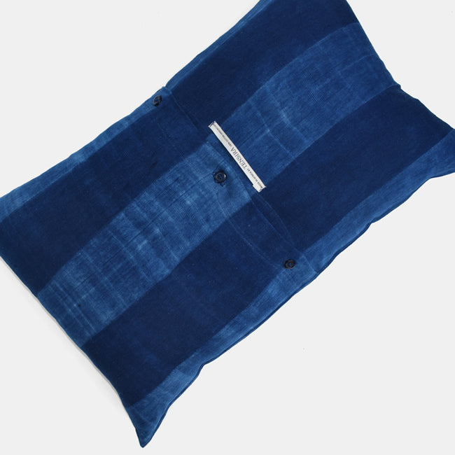 Tensira Blue Indigo Stripe Lumbar Throw Pillow at Collyer's Mansion