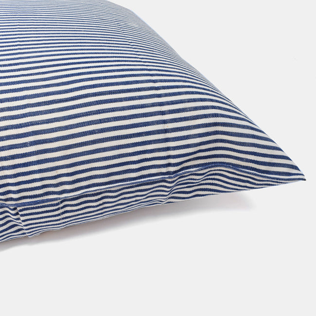 Tensira Blue Stripe Pillow in Cotton Indigo at Collyer's Mansion