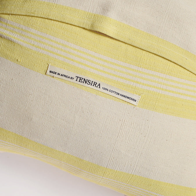 Yellow Stripe Pillow, square