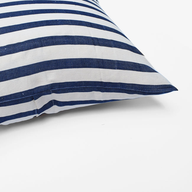 Bold Navy Stripe Pillow, square