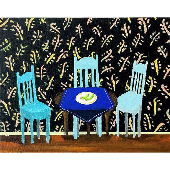 Three Blue Chairs and Honeydew