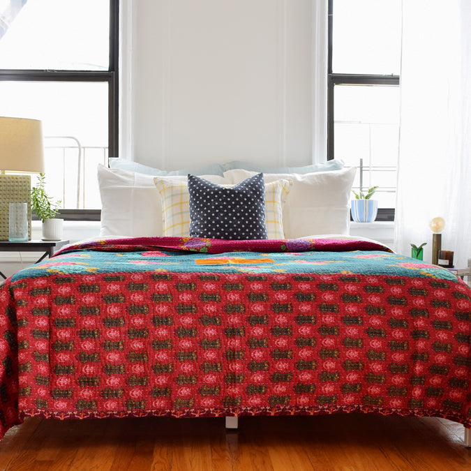 Tiger Red Gudri Bed Cover, full/queen