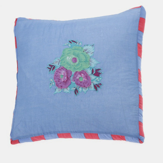 Blue Tiger Flower Pillow, square