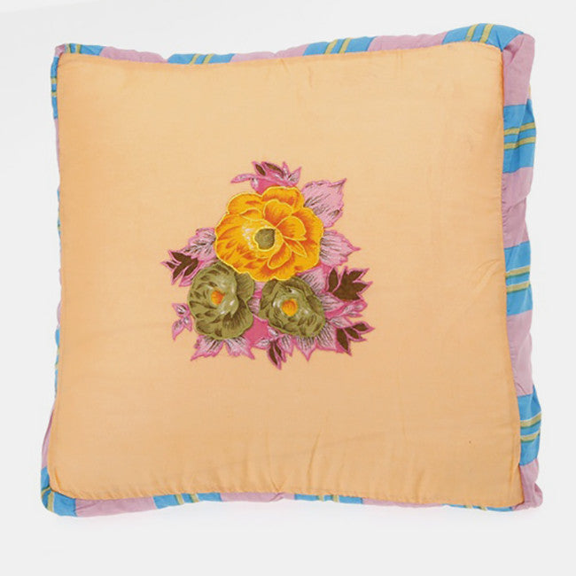 Yellow Tiger Flower Pillow, square