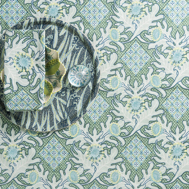 Utopia Goods Blue and Green Linen Tablecloth for Colorful Tablescape - Collyer's Mansion