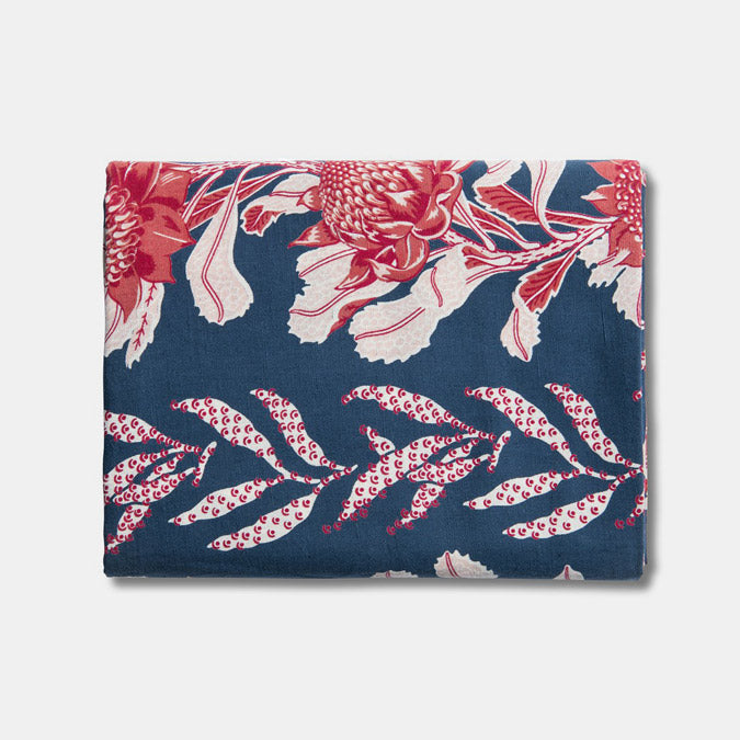 Utopia Goods Blue and Red Linen Tablecloth for Colorful Tablescape - Collyer's Mansion