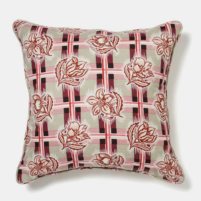 Madras Plum Pillow, square