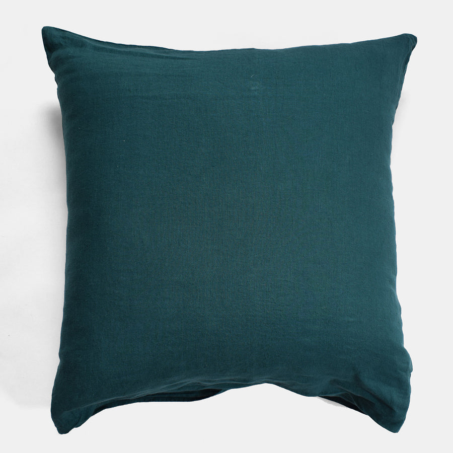 Linge Particulier Vintage Green Euro Linen Pillowcase Sham for a colorful linen bedding look in deep teal green - Collyer's Mansion