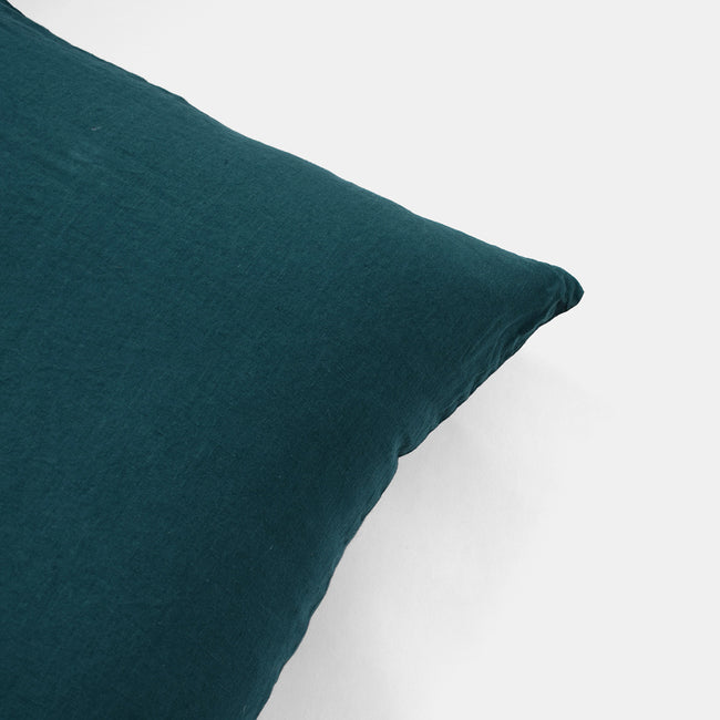 Linge Particulier Vintage Green Standard Linen Pillowcase Sham for a colorful linen bedding look in deep teal green - Collyer's Mansion
