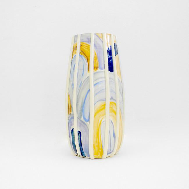 Blue Swirls Painted Vase