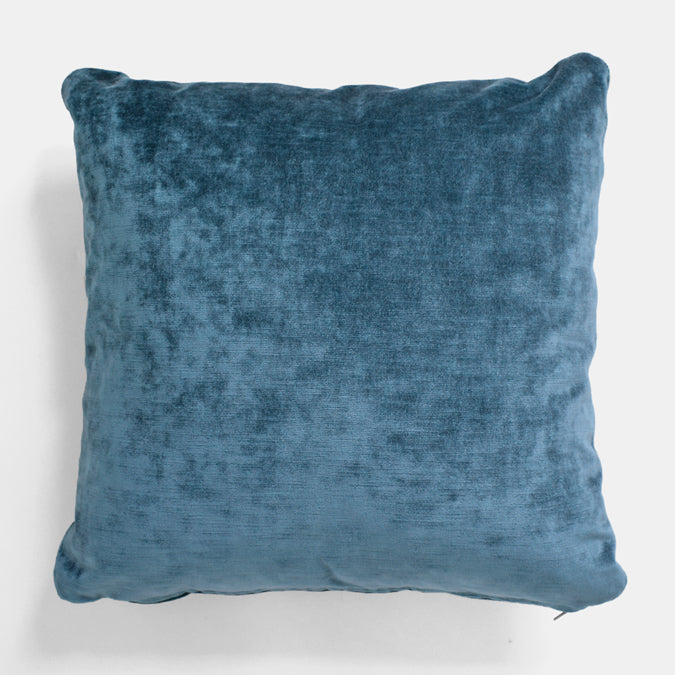 Rome Peacock Velvet Pillow, square