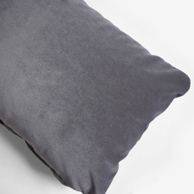 Winthrop Grey Velvet Pillow, lumbar