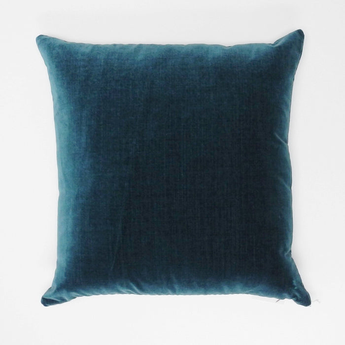Aegean Blue Velvet Pillow, square