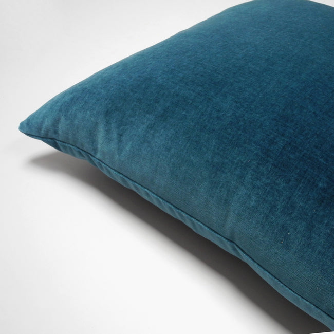 Aegean Blue Velvet Pillow, square, Pillow, Collyer's Mansion, Collyer's Mansion - Collyer's Mansion