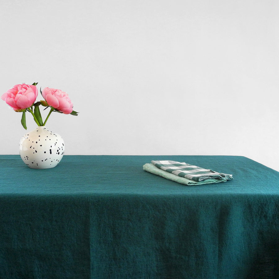 Linen Tablecloth, vintage green, Tablecloth, Linge Particulier, Collyer's Mansion - Collyer's Mansion