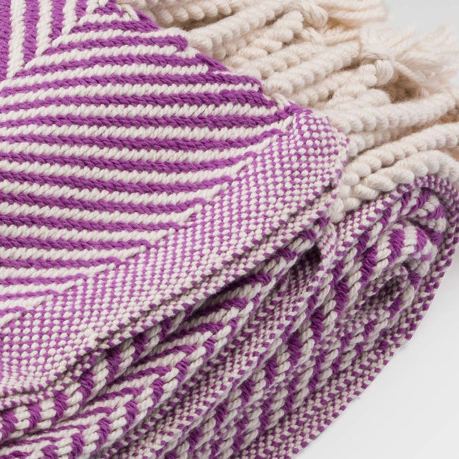 Cotton Herringbone Throw, violet, Throw, Brahms Mount, Collyer's Mansion - Collyer's Mansion