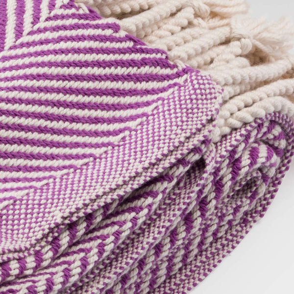 Cotton Herringbone Throw, violet