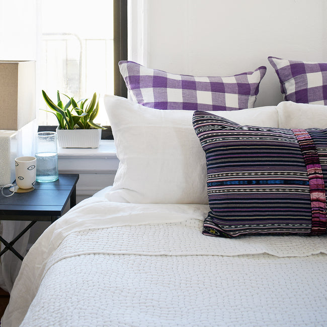 Linge Particulier Off White Standard Linen Pillowcase Sham with guatemalan textile pillow and purple gingham euro shams for a colorful linen bedding look in soft white - Collyer's Mansion