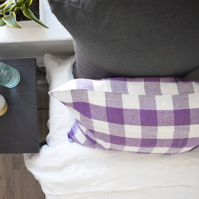 Linge Particulier Storm Grey Euro Linen Pillowcase Sham with stitched Indian quilt and violet gingham pillowcases for a colorful linen bedding look in charcoal grey - Collyer's Mansion