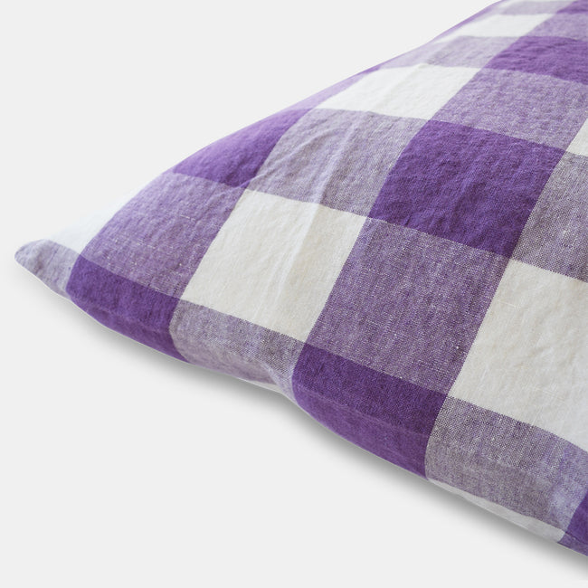 Linge Particulier Violet Gingham Standard Linen Pillowcase Sham for a colorful linen bedding look in purple check - Collyer's Mansion