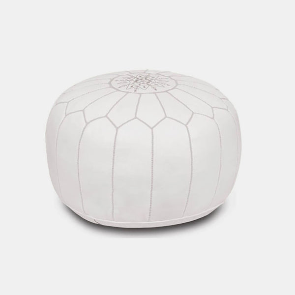 Moroccan Leather Pouf White Collyer S Mansion