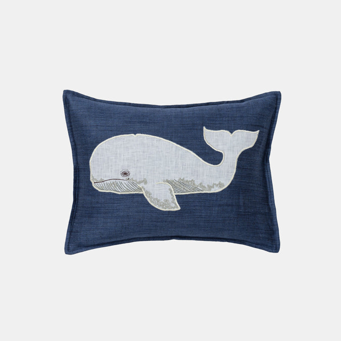 Whale Applique Pillow, lumbar