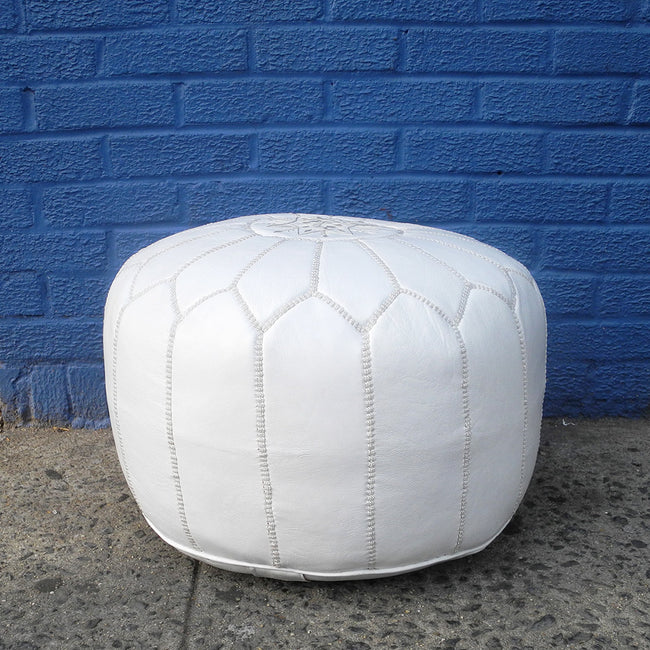 Moroccan Leather Pouf, white