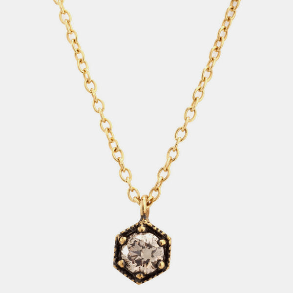 Brown Diamond Hexagon Necklace