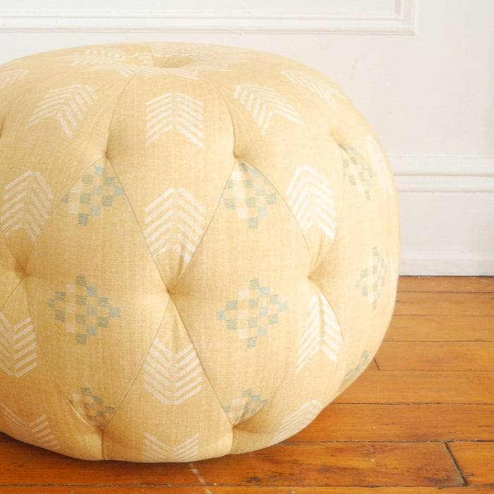"Floor Model Sale 26"" Round Pouf, farrah wheat, Pouf, Cisco Brothers, Collyer's Mansion - Collyer's Mansion"