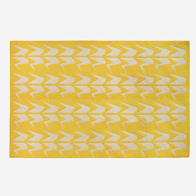 Yellow and Grey Crane Dhurrie Rug (2 size options)