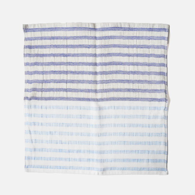 Yoshii Two Tone Stripe Linen Border Washcloth, blue