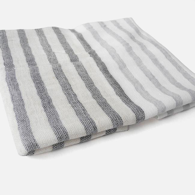 Yoshii Two Tone Stripe Linen Border Washcloth, charcoal