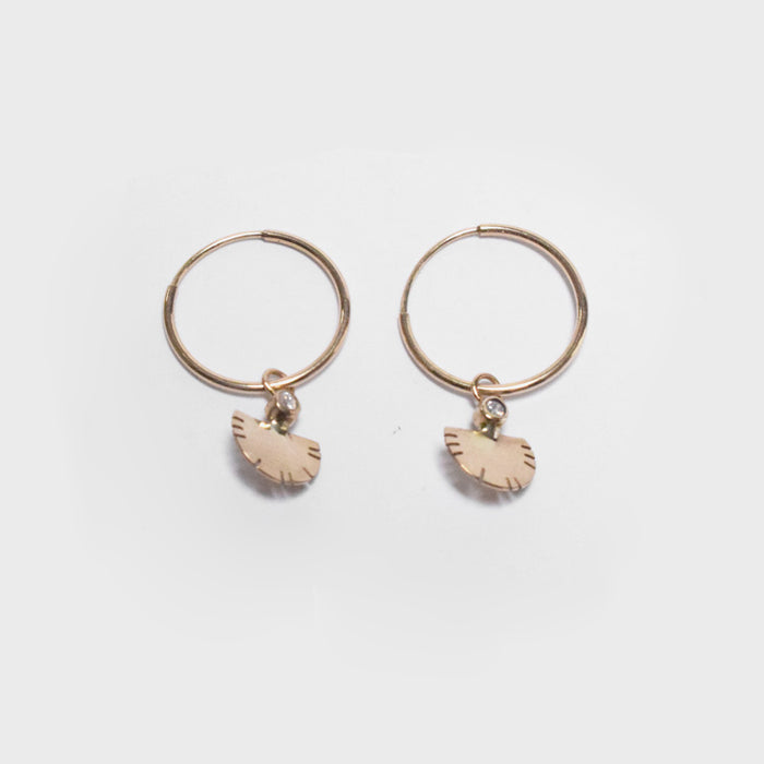 Young in the Mountains Ethically-Made Fine Jewelry Hoop Earring with 14k gold and white diamonds with feather pendant - Collyer's Mansion